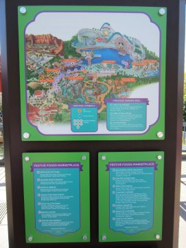 Menu board and map of the Festival of Holidays event