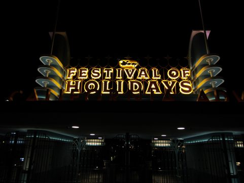 Festival of Holidays sign at night looks beautiful
