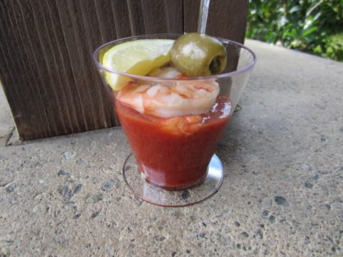 Shrimp Cocktail Martini with chili sauce and jalapeño olive from Mistletoe Morsels