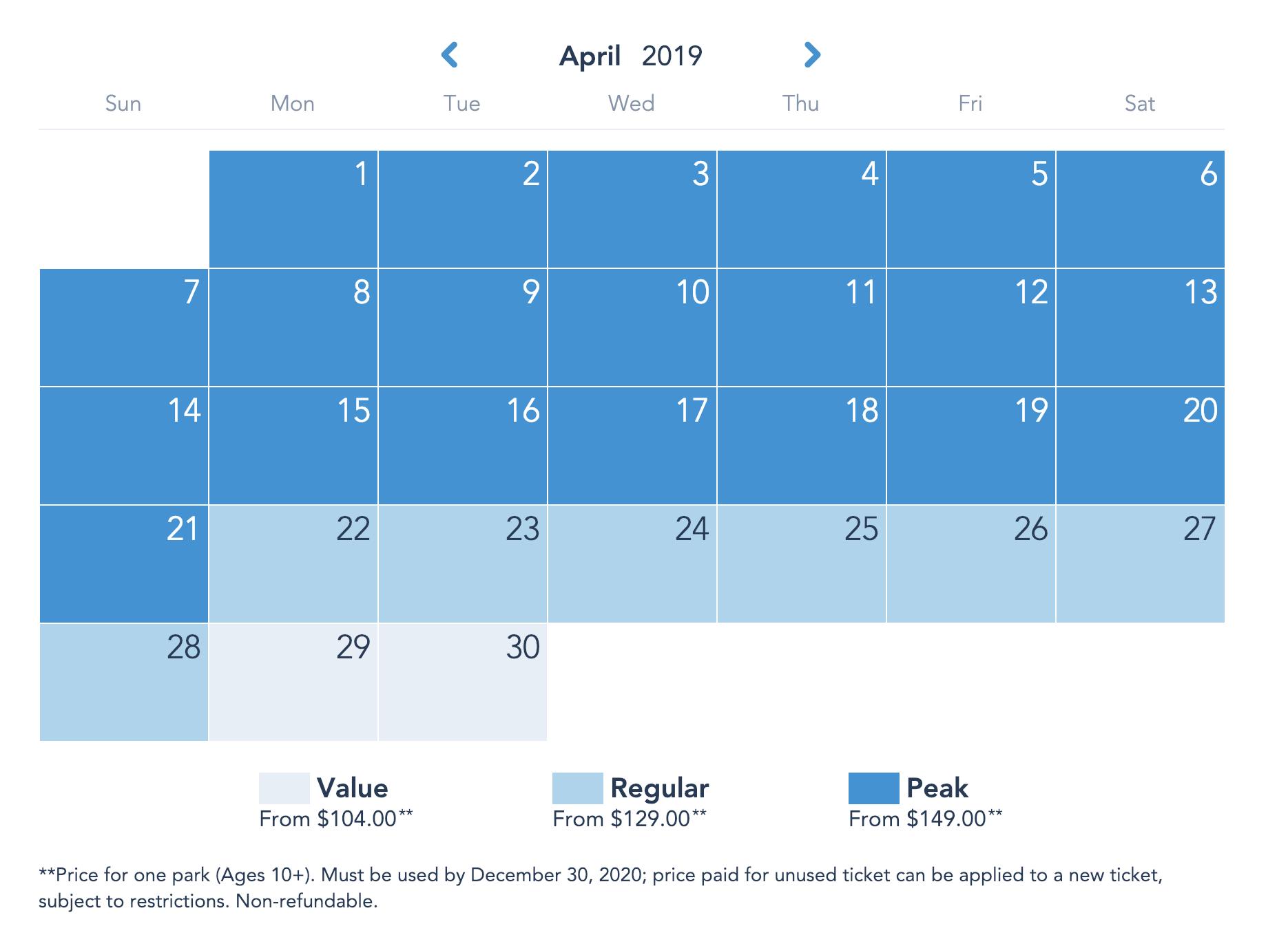 Disneyland Resort Prices - April