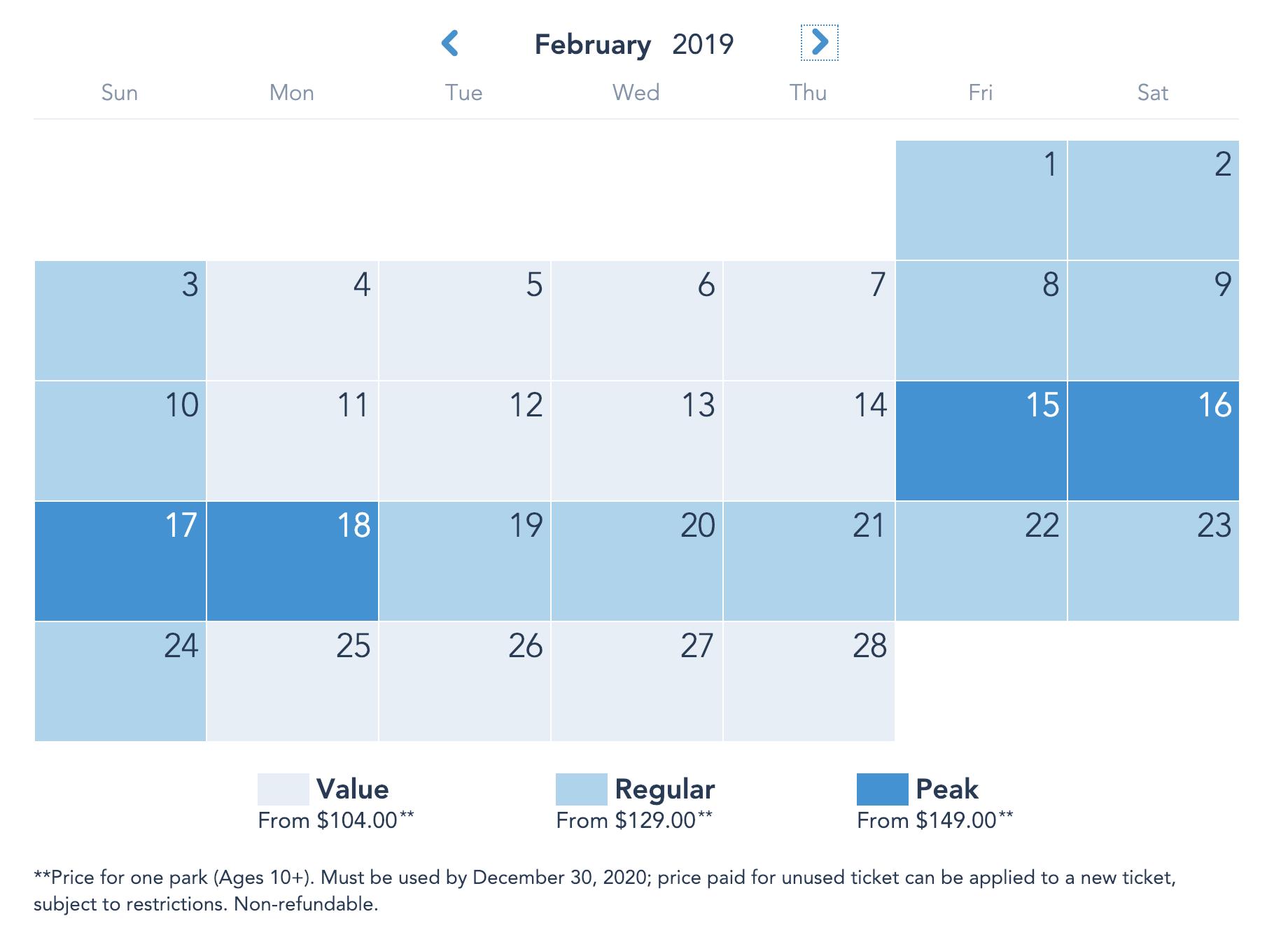 Disneyland Resort Prices - Febuary