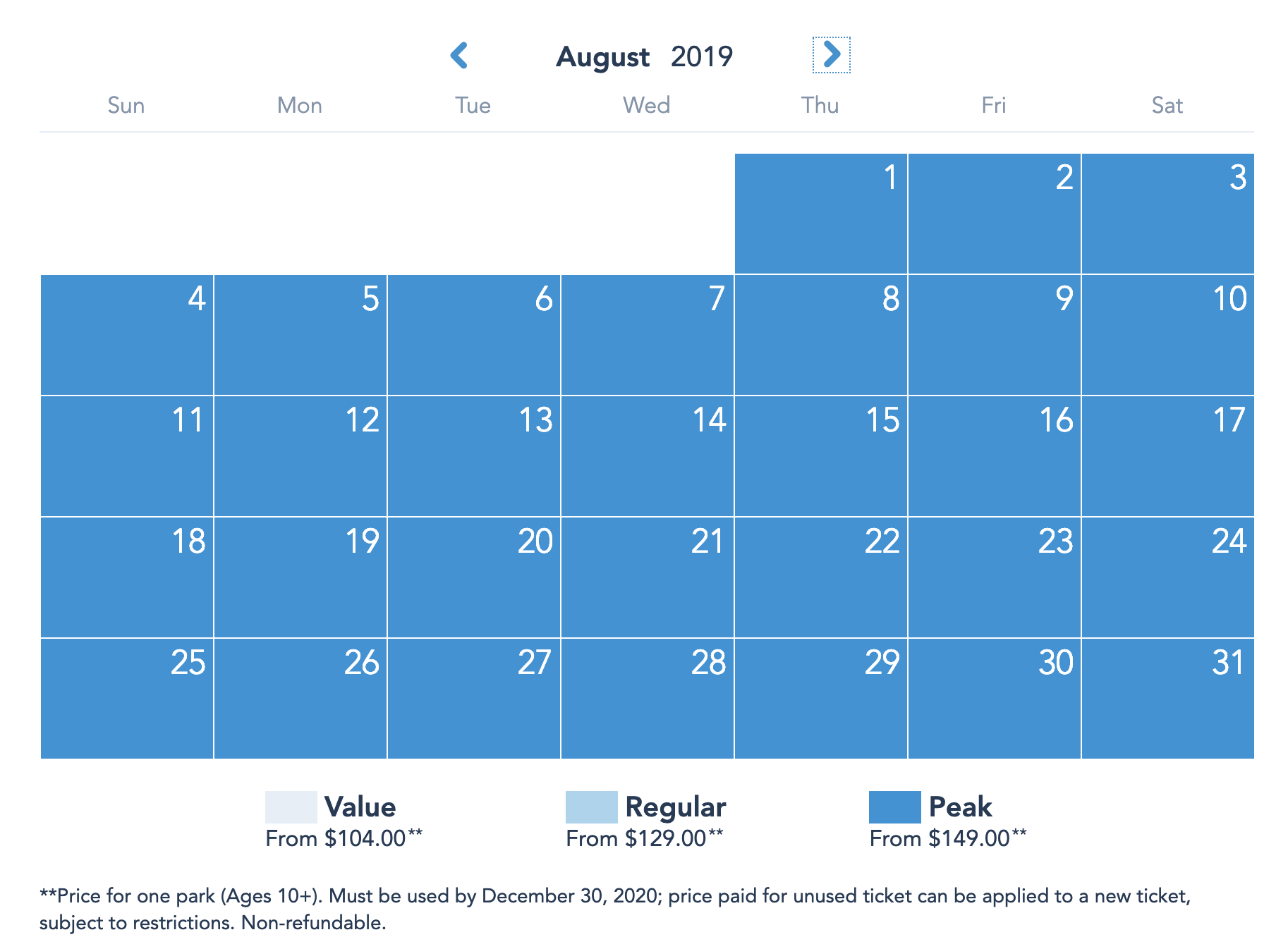 Disneyland Resort Prices - August