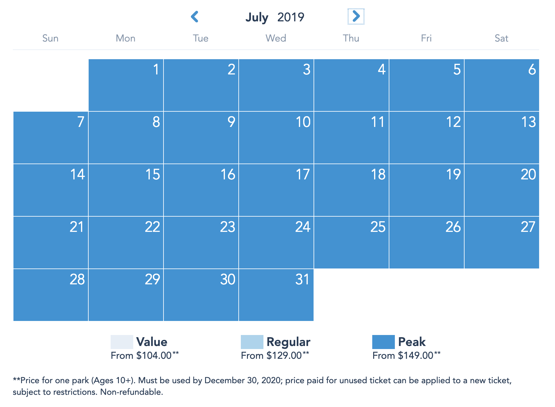 Disneyland Resort Prices - July