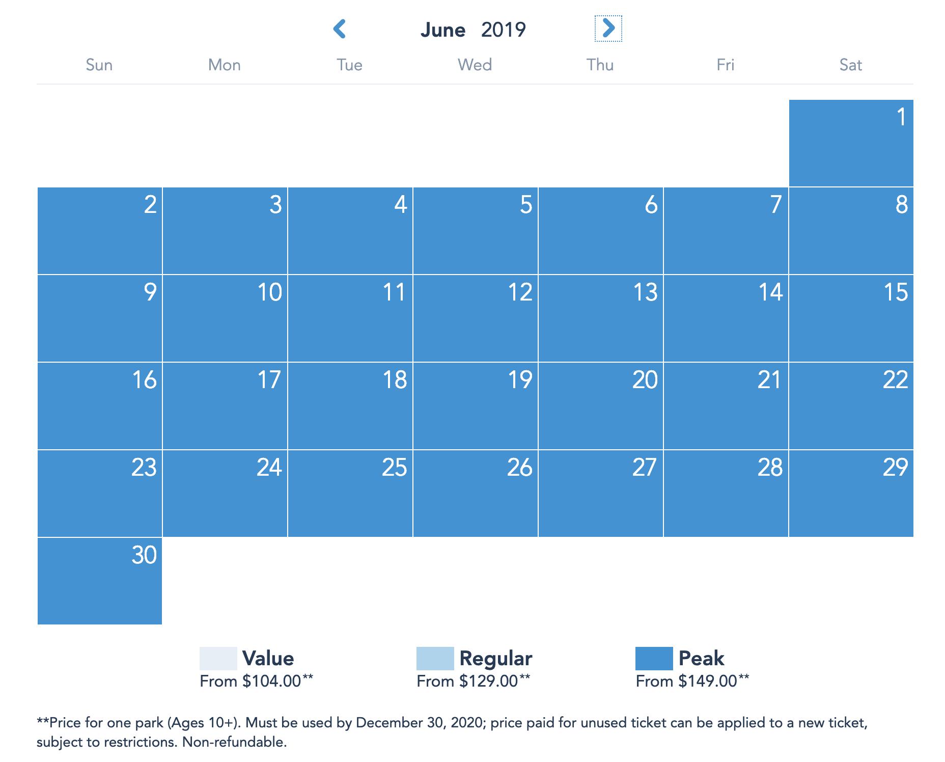 Disneyland Resort Prices - June