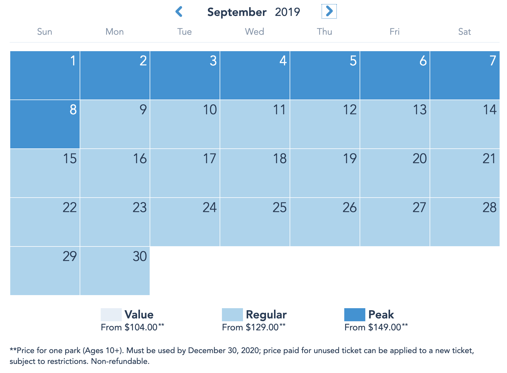 Disneyland Resort Prices - September