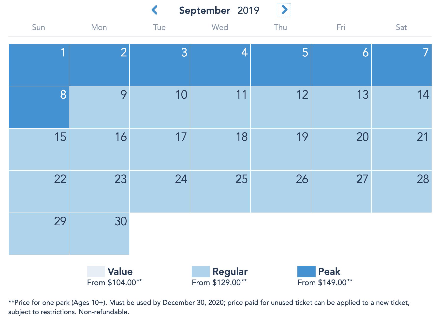 Disneyland Resort Prices - September